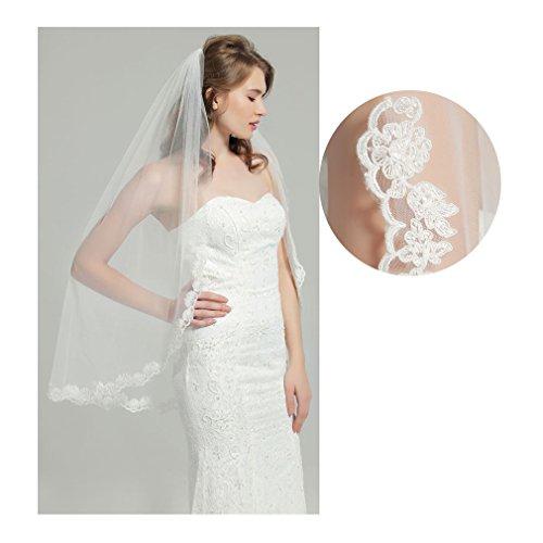 "Wedding Bridal Veil with Comb 1 Tier Lace Applique Edge Fingertip Length 41"" V79 White"