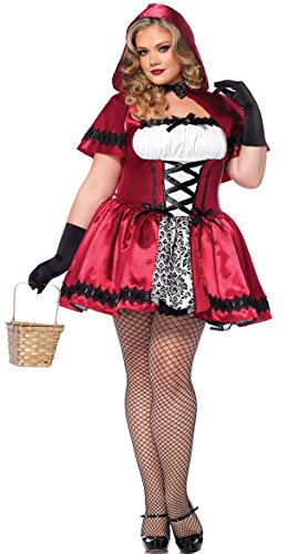 Leg Avenue Women's Plus-Size 2 Piece Gothic Red Riding Hood Costume, Red/White, 1X/2X ()