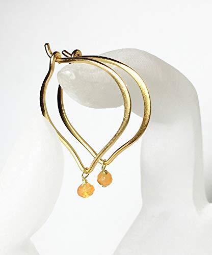 Carnelian Gold Hoop Earrings, Lotus Vermeil Earwires