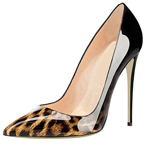 nero Nuziale Base Leopardo Womens Lovirs Spillo Pompe Scarpe Slittamento Tallone Festa Aguzza Punta 7Fw81T