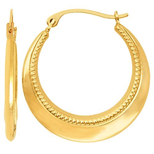 14K Yellow Gold Fancy Milgrain Round Hoop Earrings, Diameter 20mm
