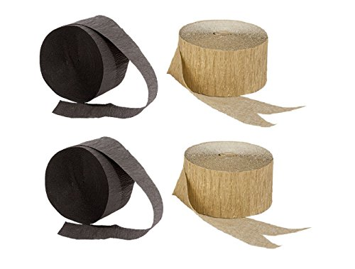 Black and Gold Crepe Paper Streamers (2 Rolls Each Color) MADE IN USA!