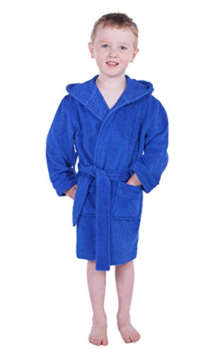 Bamboo Hooded Robe (TexereSilk Texere Boy's Hooded Terry Cloth Bathrobe (Dazzling Blue, Medium) Absorbent Robes For Boys BB0101-DZB-M)