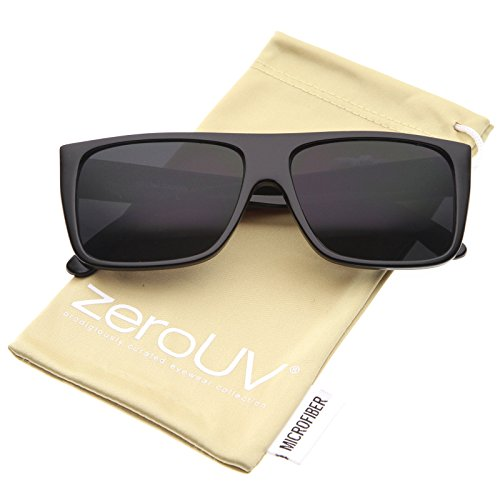 zeroUV - Retro Flat Top Wide Temple Eazy E Style Rectangle Sunglasses 57mm (Black / - Of Sunglasses Temple