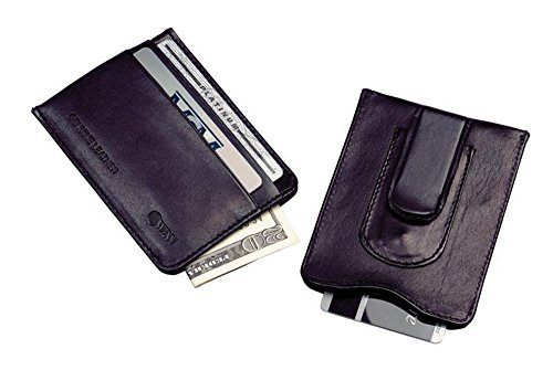 (Winn International Harness Cowhide Leather Credit Card/Currency Holder in Black)