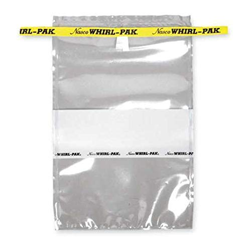 Nasco Whirl-Pak B01297WA Write-On Bag, 23cm L x 15cm W, 0.076mm Thickness, 710ml Capacity (Box of 500)