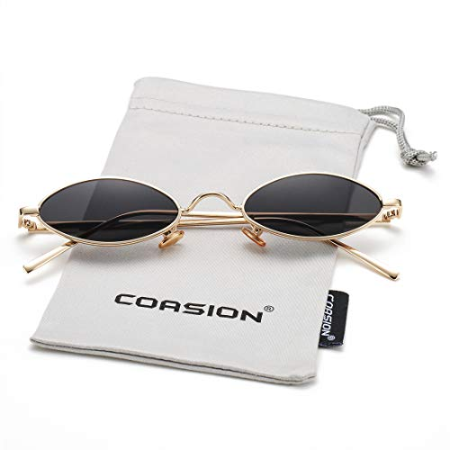 Vintage Small Oval Sunglasses for Women Men Hippie Cool Metal Frame Sun Glasses (Gold Frame/Black Lens) (Oval Black Sunglasses)