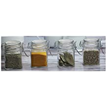 Circleware Square Bottom Mini Glass Spice Jars with Hermetic Locking Lids, Set of 4, 7.25 oz., Clear