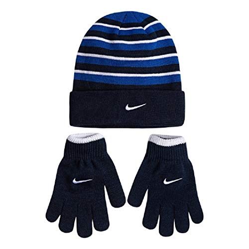 Nike Snow-Striped Hat & Gloves Set for Boys 4-16 (Black Navy Royal)