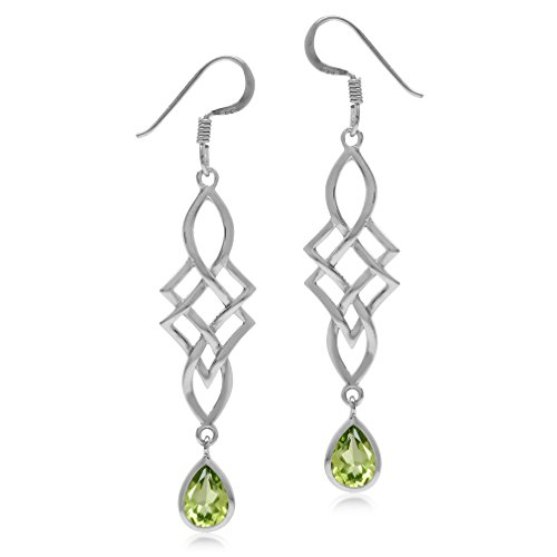 1.46ct. Natural Peridot White Gold Plated 925 Sterling Silver Celtic Knot/Weave Dangle Hook Earrings (Knot Celtic Peridot)