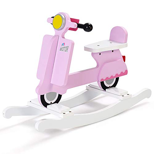 - Wooden Rocking Horse Kids Ride On Toy Toddler Motorcycle Rocker Chair Flat Seat