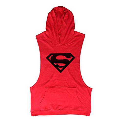 TECOFFER Bodybuilding Stringer Men's Hoodie Sleeveless T-shirts Workout Fitness Gym Tank Top (Red, (Hooded Sleeveless T-shirt)