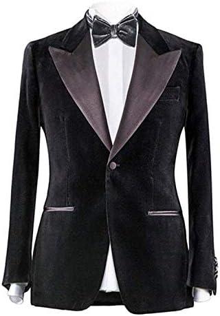[해외]Everbeauty 남성용 프리미엄 벨벳 턱시도 재킷 블레이저 피크 라펠 코트 스타일리시한 웨딩 턱스 리본 타이 JK001 / Everbeauty Men`s Fashion Lapel Velvet Blazer Black Premium Slim Fit Velvet Tuxedo Blazers-Dinner Jackets
