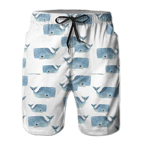 (Whale Pod in Blue Men's Board Shorts Swim Mesh Lining and Side Pocket)
