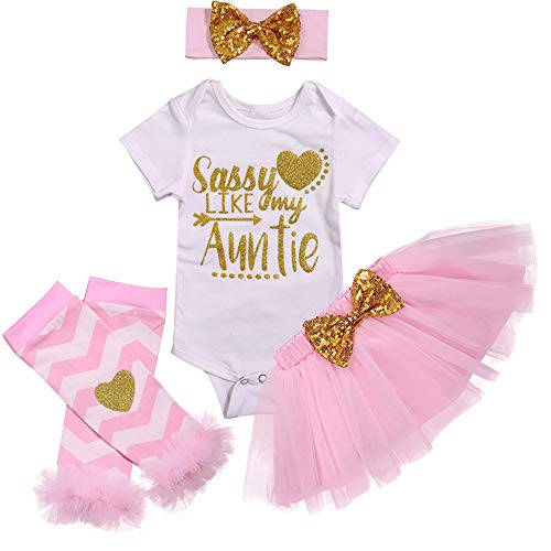 Baby Girl Clothes 1st Birthday Outfit Romper Tutu Skirts Party Dresses Outfit Headband Leg Warmer Clothes Sets (0-3Months) White