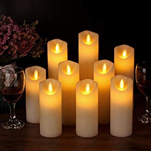 Enpornk Flameless Candles Led Electric Ivory Real Wax Battery Operated Candle Sets with Moving LED Flame & 10-Key Remote Control 2/4/6/8 Hours Timer, 4″ 5″ 6″ 7″ 8″ 9″ Pack of 9