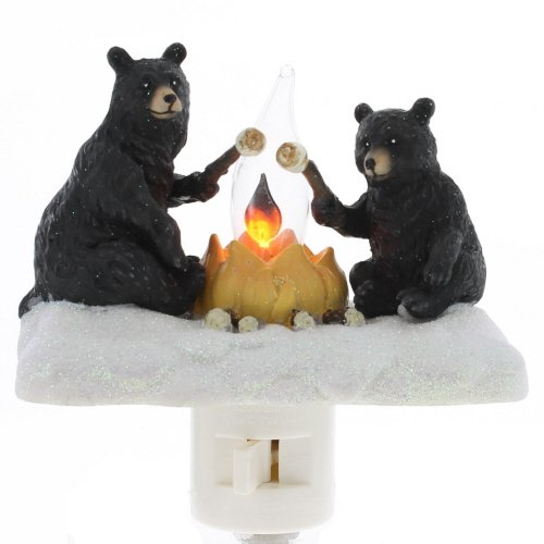(Roman Lights Exclusive Plug in Night Light, Features 2 Bears Roasting Marsh Mellows Around a Flickering Flame Camp Fire,)