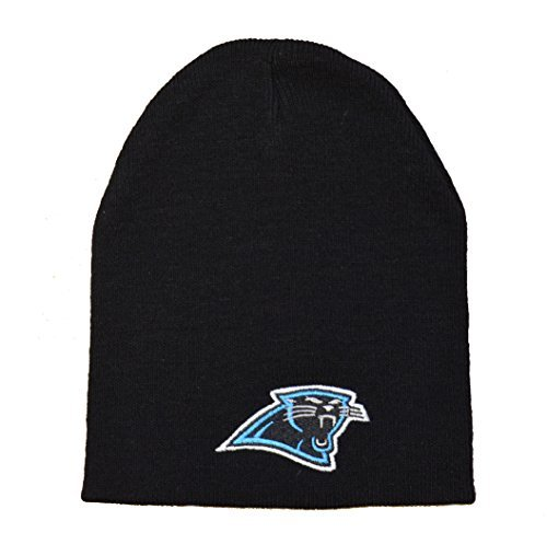 Embroidered Reebok Cap (Carolina Panthers Black Skull Cap - NFL Cuffless Knit Toque Beanie)