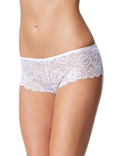 Felina Women's Lush Lace Cheeky Panty Boyleg Brief Panty, White, ()