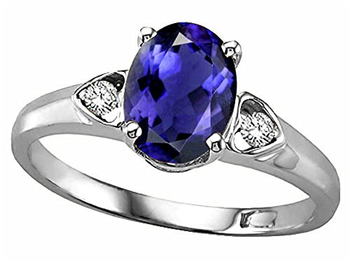 Tommaso Design Oval 8x6 mm Genuine Iolite Ring 14 kt White Gold Size 9 ()