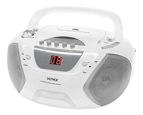 Denver TCP-38 Boombox mit Radio, CD und Kassettenspieler, Weiß