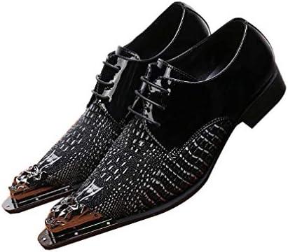 メンズシューズはメタル裏地ブラックレザーは、ロック靴、結婚式/タキシードのための完璧なエレベーターの靴を指摘しました