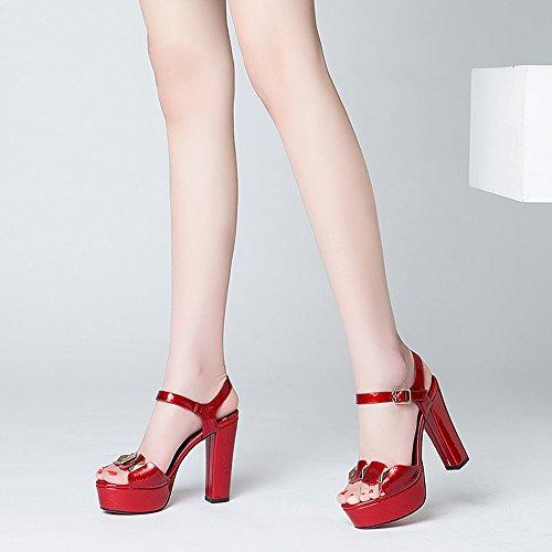 Taille Talon Chaussures Romaine Bout Été Métal Chaussures Rouge Haute Épaisse Zhirong Eu37 5cm De Plate Uk4 Bouche Sandales À En Paillettes couleur Imperméable Poissons De Femmes 5 Talon Rouge Cn37 forme 11 Ouvert 5 RZzqwBPp