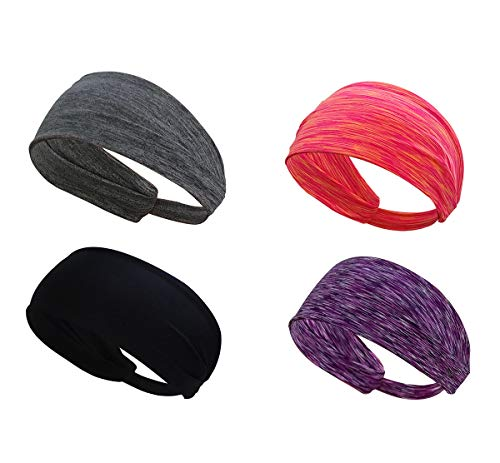 Sports Headband Running Headband Athletic Moisture Wicking Headband Yoga Cycling Sport Fitness Headband Workout Wide Stretchy Elastic Non Slip Lightweight Style Sweatband fits Men & Women, 4 PACK by Thinspire