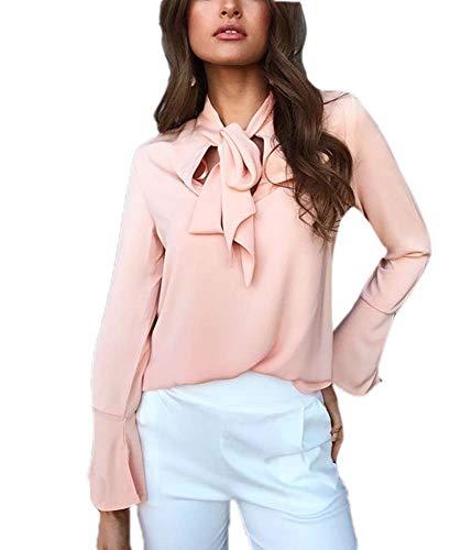 Sleeve Famesale A Ruffle con Bowknot Tunica Long Rosa Chiffon Top vrrwEP