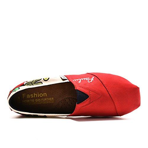 Tiosebon Damesslip Op Sneaker Canvas Plat 5908 Rood