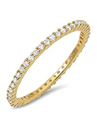 Glitzs Jewels 925 Sterling Silver Stackable Ring (Yellow Gold Tone) (Clear CZ) | Jewelry Gift for Women