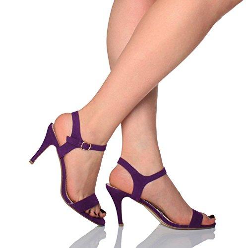 lanières Haute Sandales à Pourpre fête Daim Boucle Talon élégant Ajvani Violette Pointure Chaussures Femmes ng8qw0B5R