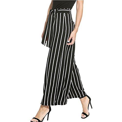Pants for Womens, FORUU Stripe Flowy Wide Leg High Waist Zipper Belted Long (XL, Black)