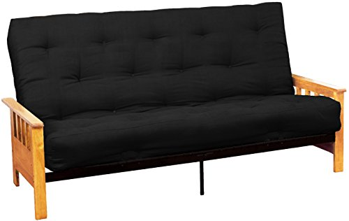 Epic Furnishings Berkeley 10-inch Loft Inner Spring Futon Sofa Sleeper Bed, Queen-size, Natural Arm Finish, Microfiber Suede Ebony Black Upholstery
