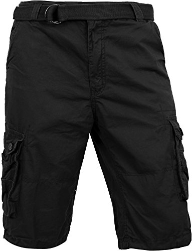 MP Mens Premium Cargo Shorts With Belt Outdoor Twill Cotton Loose Fit Multi Pocket Pants (40, (Cotton Work Belt)