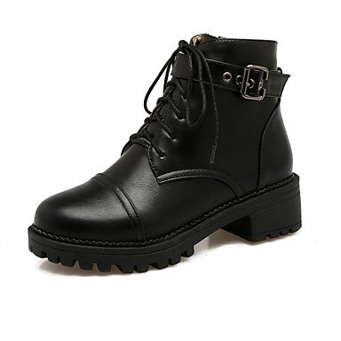 Bottes Lacet Noir black Hiver Gros Chaussures Femme Pour Mode Bottes Botte Similicuir rond Bout DESY Automne Talon Demi Bottine la Décontracté à WnBTvxx