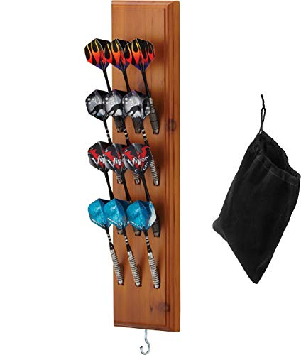 Viper Dart Caddy Solid Wood Wall Mounted Dart Holder / Stand, Displays 4 Sets of Steel or Soft Tip Darts, for all Sisal & Electronic Dartboards, Surrounds & Cabinets, Cinnamon Finish