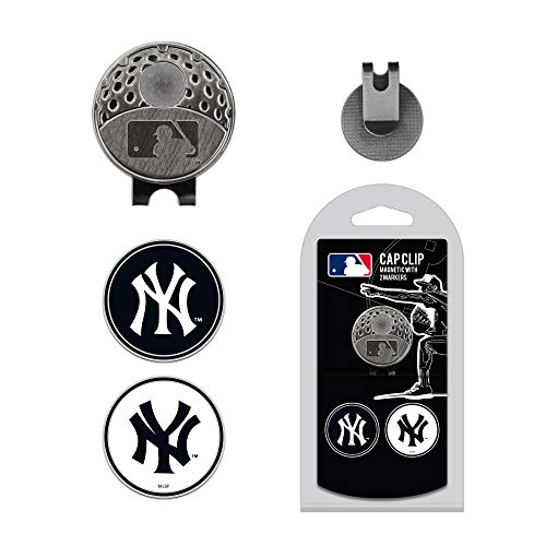 Team Golf MLB New York Yankees Golf Cap Clip with 2 Removable Double-Sided Enamel Magnetic Ball Markers, Attaches Easily to Hats