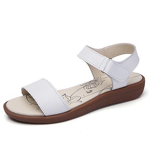 QXH La Mujer Sandalias Planas de Cabeza Redonda de Cuero Color Sólido de Velcro White01