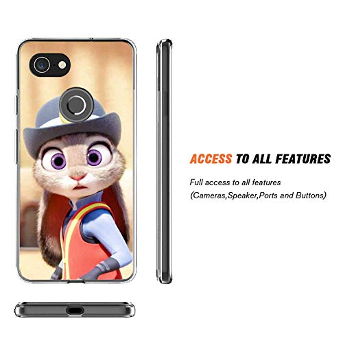 DISNEY COLLECTION Clear Crystal Phone Case Fit for Google Pixel 3 XL Cute Zootopia Officer Judy Finger Resistant Shockproof Slim Light Rub Protective ()