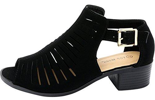Top Moda - Women's Laser Cut Open Toe Short Heel Booties,8 B(M) US,Black by Top Moda (Image #2)