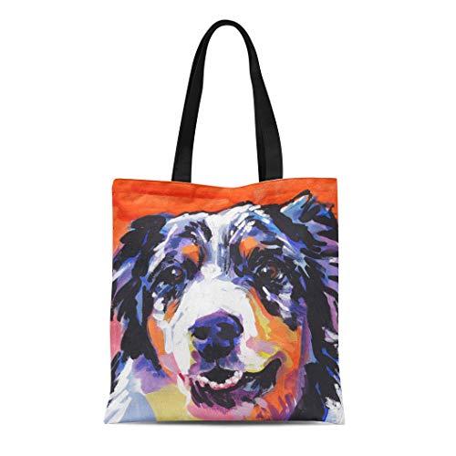 (Semtomn Cotton Line Canvas Tote Bag Dog Australian Shepherd Pop on Painting Portrait Pet Pup Reusable Handbag Shoulder Grocery Shopping)
