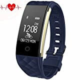 Fitness Tracker - Juboury Heart Rate Activity Tracker Touch Screen Wearable Pedometer Bluetooth Smart Wristand with Sleep Monitor - Steps Counter - Calories Track for Android and IOS Smart Phones (Blue)