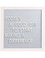 """Pearhead 10"""" x 10"""" Gray Felt Letterboard Set, Includes 292 White Letters, Perfect Message Board for Home or Rustic Nursery, or use for Baby Announcement"""