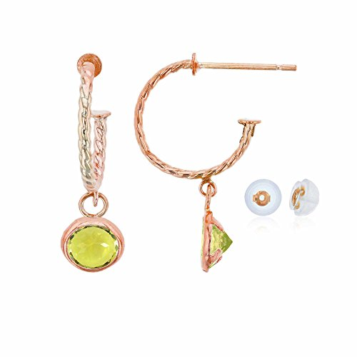 - 10K Rose Gold 12mm Rope Half-Hoop with 4mm Round Lemon Quartz Bezel Drop Earring with Silicone Back