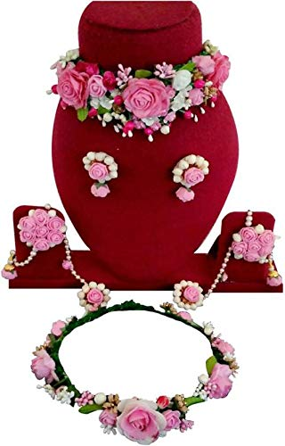 a6f4243e2 Buy Urbalaa Floret Pink Gota Patti Necklace, Earrings, Hath Phool & Tiara(6  Items) for Women & Girls (Mehandi/Haldi) Online at Low Prices in India    Amazon ...