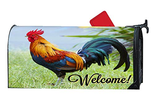 Beautiful Wild Rooster Spring Fall Magnetic Mailbox Cover Standard, Vintage Decor for Home Garden