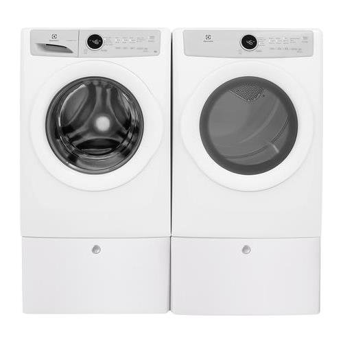 Electrolux White Front Load Laundry Pair with EFLW317TIW 27″ Washer EFDE317TIW 27″ Electric Dryer and 2 EPWD157SIW
