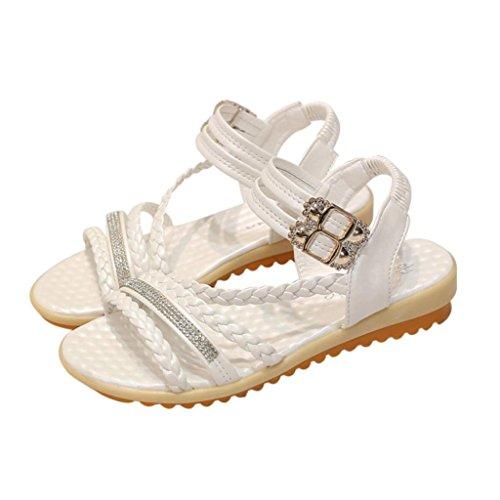 Sommer Sandaler, Inkach Mote Kvinners Sommer Sandaler Skråning Med Flip Flops Loafers Sko Hvit