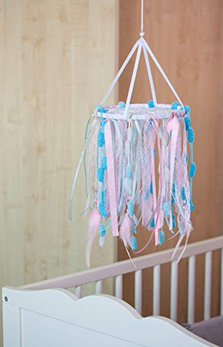 Crib Mobile Dreamcatcher, Baby Nursery Dream Catcher 8`/20 cm, Girls Nursery Dreamcatcher Mobile, Nursery Decor Pink Sky Blue Baby Room Decor, Baby Shower gift